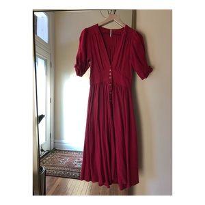 Free People Red knit maxi dress - size xs